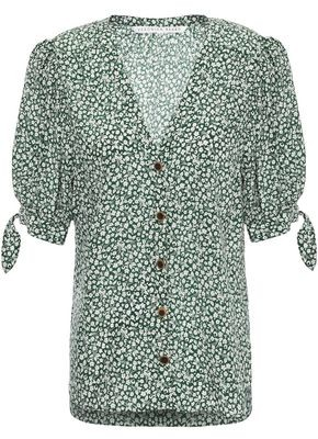 Veronica Beard Gizela Gathered Knotted Floral-print Silk Blouse