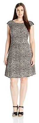 Connected Apparel Women's Plus-Size Animal Print Jersey Short Full Dress