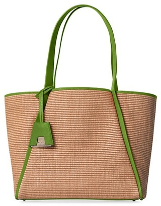 Akris Medium Alex Leather-Trimmed Raffia Tote