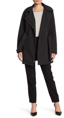 Via Spiga Hooded Long Sleeve Belted Jacket (Petite)