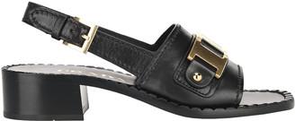 Prada Metal Detail Leather Sandals
