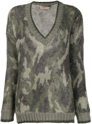 Twin-Set V-Neck Camo Jumper