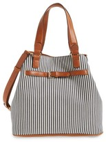 Sole Society 'Nina' Belted Geo Tote - Blue