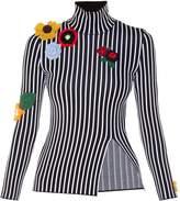 Christopher Kane Crochet-flower embellished striped top