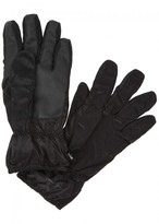 Stone Island Black Faux Leather And Shell Gloves