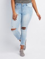 Charlotte Russe Plus Size Refuge Skin Tight Legging Destroyed Jeans