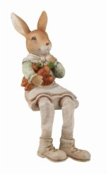 Transpac Trans Pac Brown Easter Traditional Bunny Farmer Shelf Sitter
