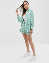 Asos Design DESIGN suit shacket in green snake