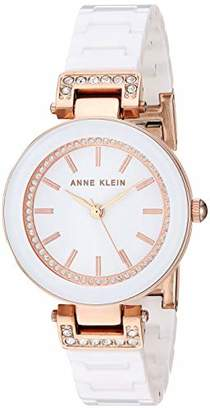 Anne Klein Women's Swarovski Crystal Accented Rose Gold-Tone and White Ceramic Bracelet Watch