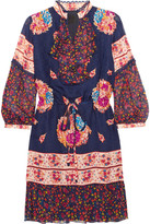 Anna Sui Printed Silk-jacquard And Silk-crepon Mini Dress - Navy
