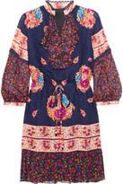 Anna Sui Printed Silk-jacquard And Silk-crepon Mini Dress - US0