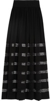 Michael Kors Lace-paneled Silk-georgette Maxi Skirt - Black