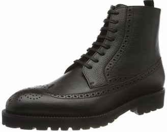 HUGO BOSS Mens Edenlug Halb Lace-up Boots in Calf Leather with Brogue Details Black