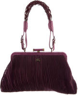 Burberry Lizard-Trimmed Pleated Bag