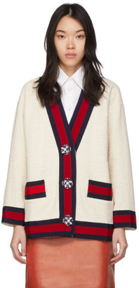 Gucci Off-White Tweed Oversized Cardigan