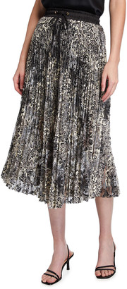 Loyd/Ford Animal-Print Lace Midi Skirt