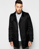 ASOS Trench Coat With Belt In Black - Black