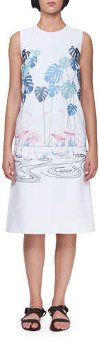 Victoria Beckham Victoria Sleeveless A-Line Midi Dress with Flamingo Flock & Palm Trees