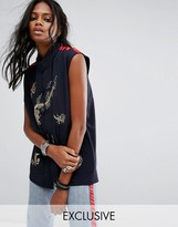 Reclaimed Vintage Inspired Sleeveless Shirt With Embroidery And Trim