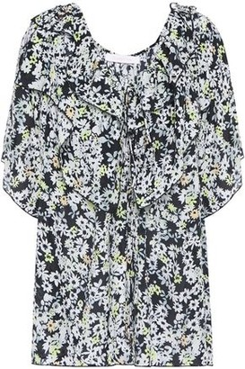 See by Chloe Ruffled Floral-print Crepe De Chine Blouse