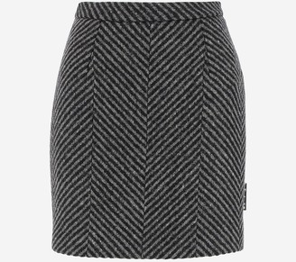 Off-White High Waist Wool Women's Mini skirt