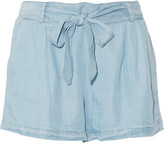 Splendid Belted Tencel-chambray shorts