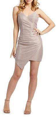 Mac Duggal Draped Shimmer Open-Back Dress