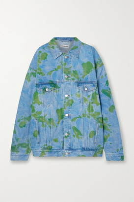 Balenciaga Oversized Floral-print Denim Jacket - Blue