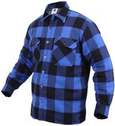 Rothco Men's Extra Heavyweight Brawny Sherpa-lined Flannel Shirts, Blue - Large