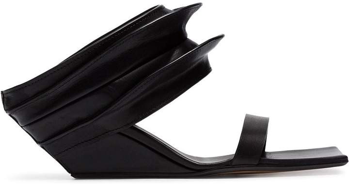 Black Leather 100 Strappy Sandals Mule Wedge UMSVqzGp