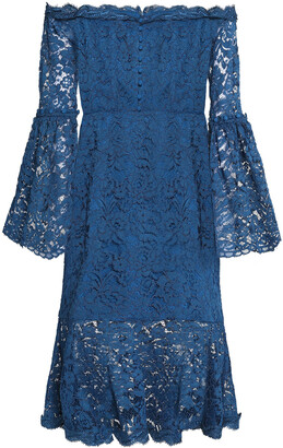 Nicholas Off-the-shoulder Ruffled Cotton-blend Corded Lace Dress