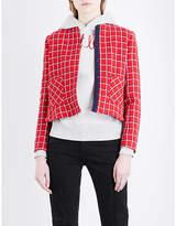 Sandro Checked round-neck woven blazer