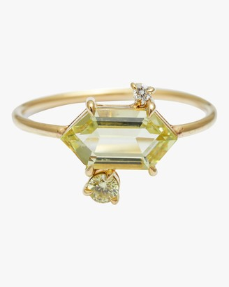 Yi Collection Yellow Aquamarine Diamond Puzzle Ring