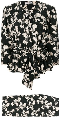Saint Laurent Pre-Owned 1970's feather print skirt suit