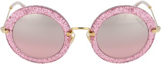 Miu Miu Glittered Round Frame Sunglasses