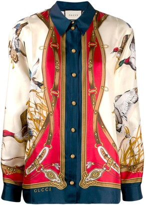 Gucci Flying Duck print silk shirt