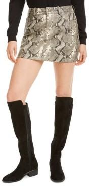 Vigoss Jeans Faux-Leather Snake-Print Mini Skirt