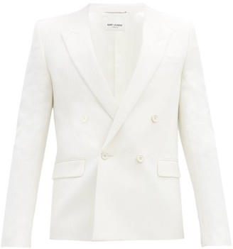 Saint Laurent Double-breasted Jacquard-striped Wool Suit Jacket - White
