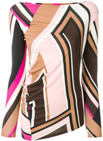 Emilio Pucci printed slash neck top