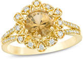 Zales Your Stone Your Storya 7.0mm Yellow Beryl and 1/4 CT. T.W. Diamond Flower Frame Vintage-Style Ring in 14K Gold