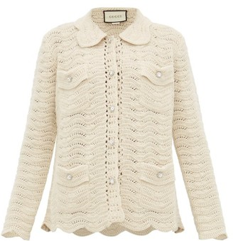 Gucci Crystal-button Crochet-wool Cardigan - Womens - Ivory