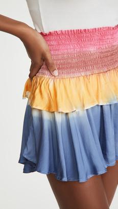 Chaser Silky Basics Smocked Flouncy Tiered Mini Skirt