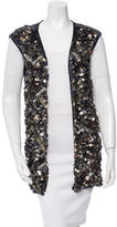 Catherine Malandrino Sequin-Embellished Long Line Vest w/ Tags