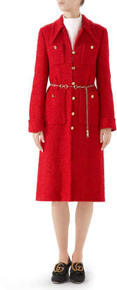 Gucci Classic Lightweight Tweed Belted Coat