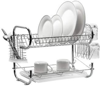 American Dream Home Goods The Kitchen Sense Chrome 2 Tier Deluxe Dish Drying Rack with Drain Tray
