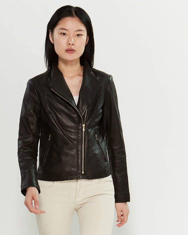 8ab49c646 Wing Collar Zip-Front Leather Jacket