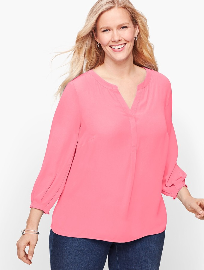 Talbots Pleated Sleeve Popover