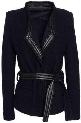 IRO Awa Belted Leather-trimmed Boucle-knit Wool-blend Jacket