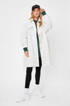 Nasty Gal Womens Catch Me Outside Quilted Belted Coat - Cream