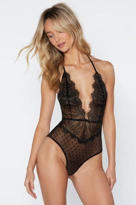 Nasty Gal Womens Lace of Spades Halter Bodysuit - Black